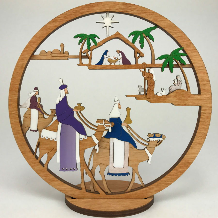 Medium Layered 3 King Nativity