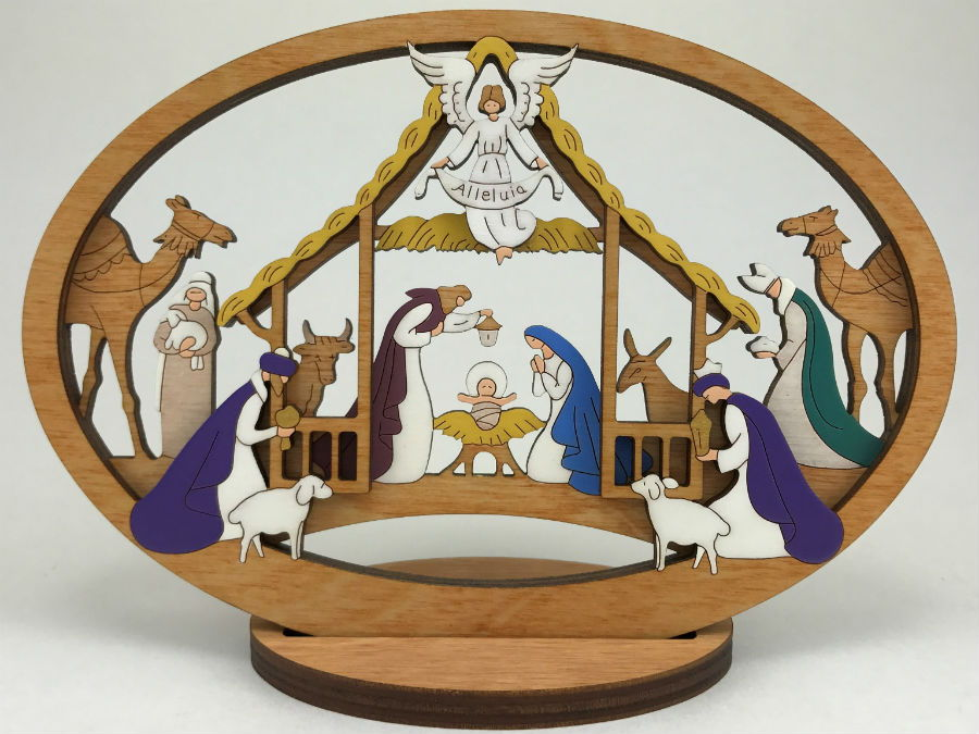 Small Layered Alleluia Nativity - Click Image to Close