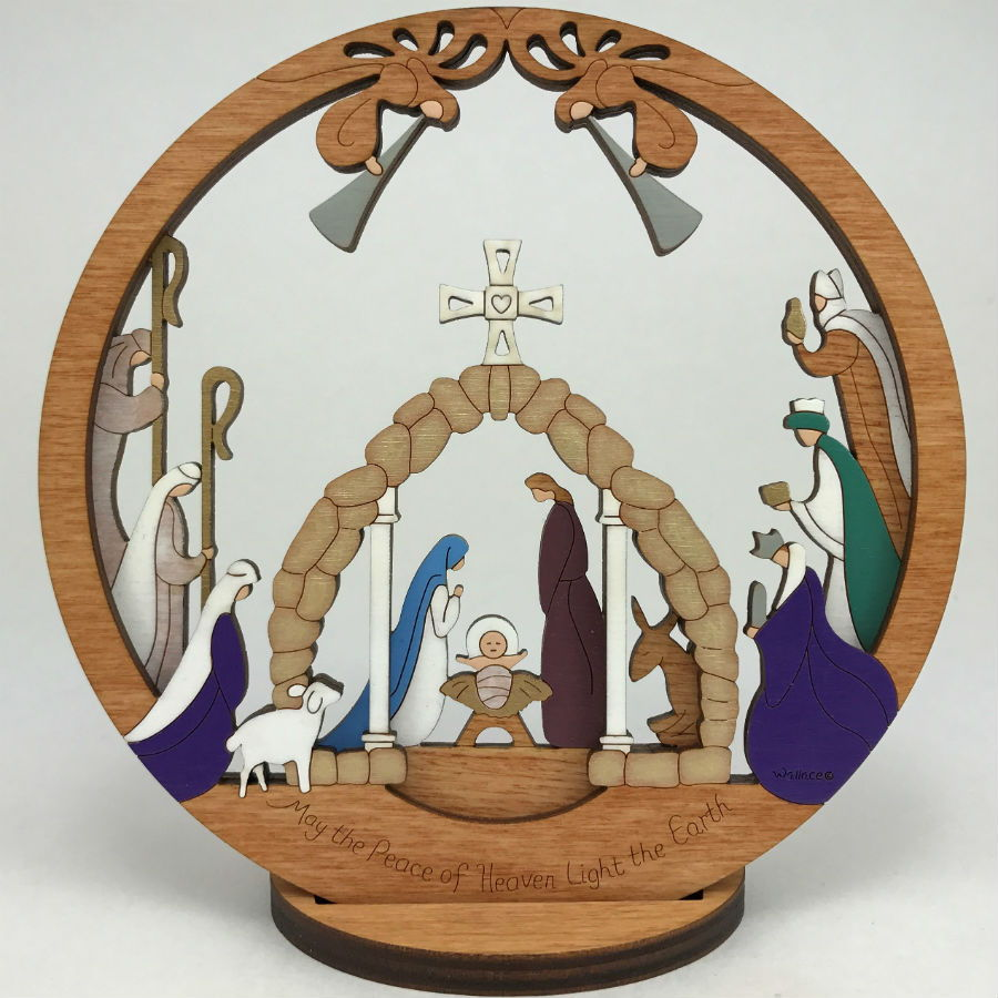 Small Layered Round Nativity