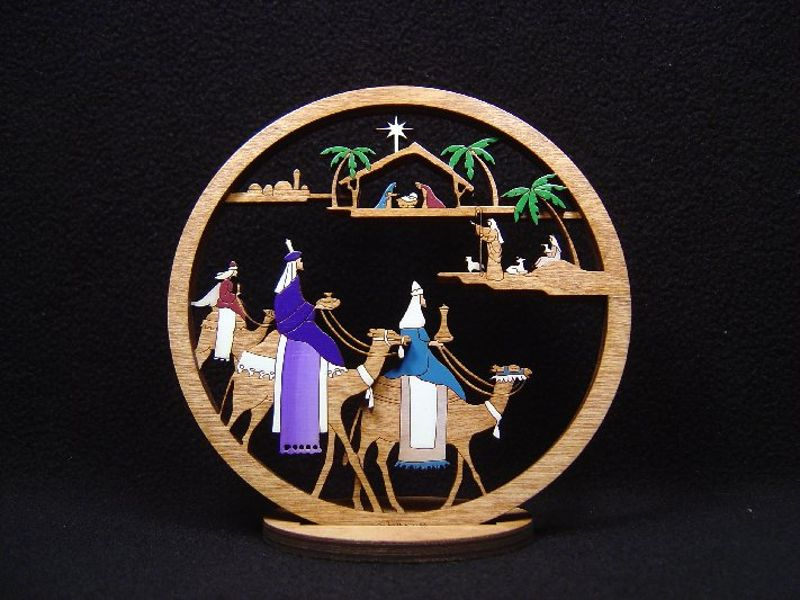 Small Layered 3 King Nativity #220