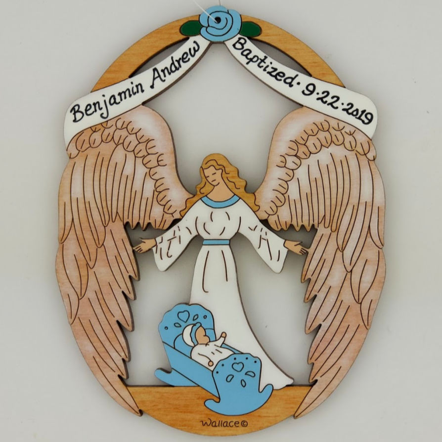Baby's Baptism Ornament - Blue