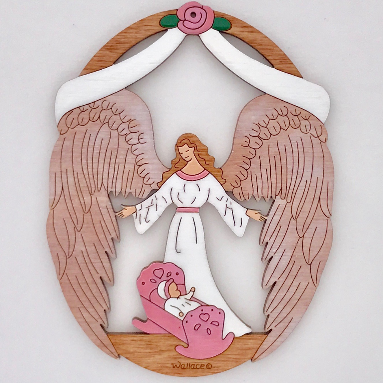 Baby's Baptism Ornament - Pink