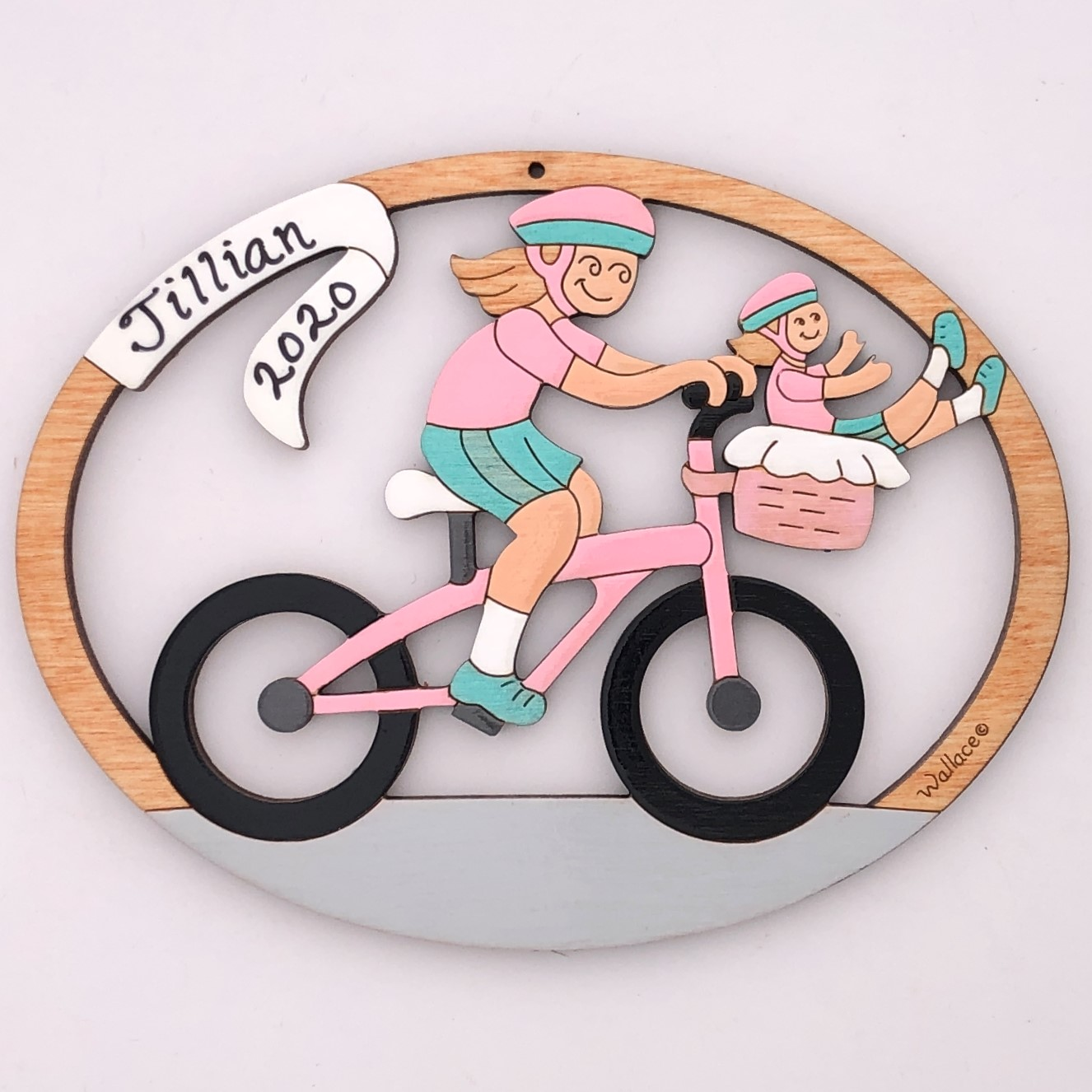 Girl Bike With Doll Ornament
