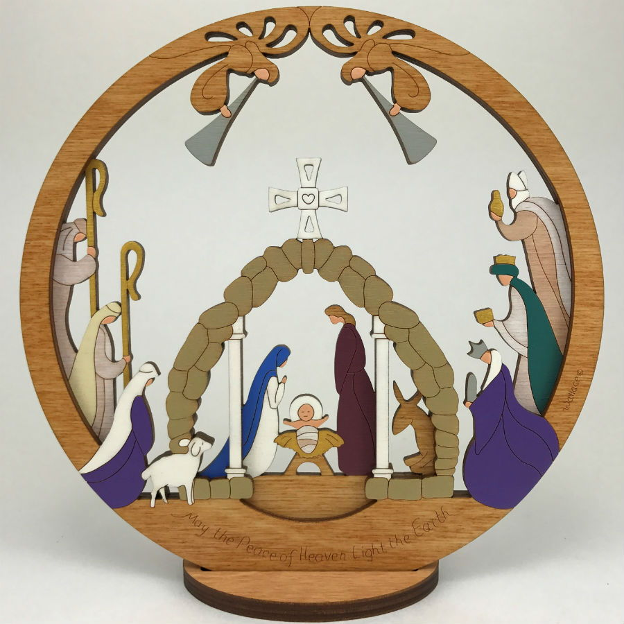 Medium Layered Round Nativity - Click Image to Close