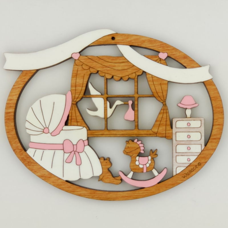 Baby's Room Christmas Ornament - Pink