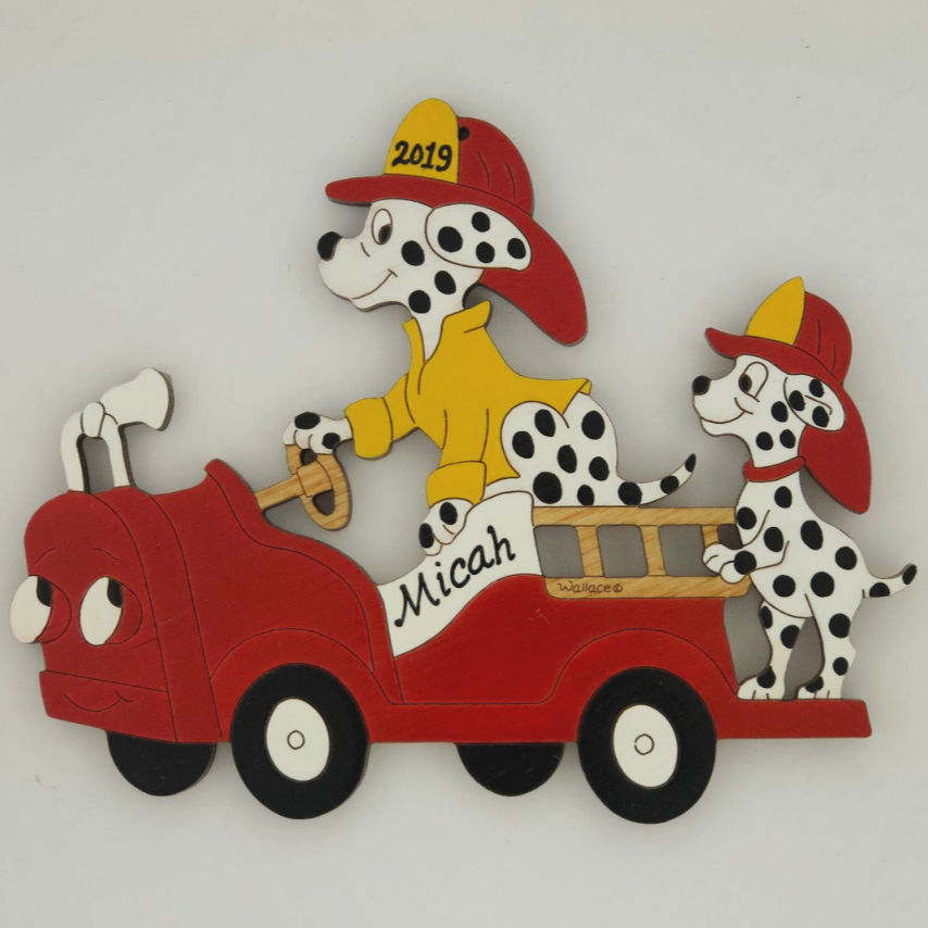 Firetruck/Dalmation Ornament